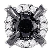 10kt White Gold Womens Round Black Color Enhanced Diamond Stud Earrings 1.00 Cttw