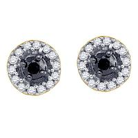 10kt Yellow Gold Womens Round Black Color Enhanced Diamond Stud Screwback Earrings 1/5 Cttw