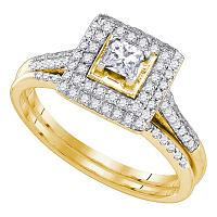 14kt Yellow Gold Womens Round Diamond Square Halo Bridal Wedding Engagement Ring Band Set 1/5 Cttw