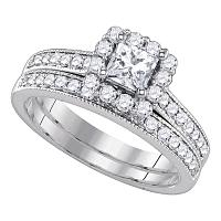 14kt White Gold Womens Princess Diamond Halo Bridal Wedding Engagement Ring Band Set 1-1/4 Cttw