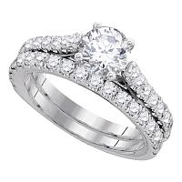 14kt White Gold Womens Round Diamond Bridal Wedding Engagement Ring Band Set 2-1/4 Cttw