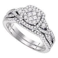 14kt White Gold Womens Princess Round Diamond Soleil Cluster Bridal Wedding Engagement Ring Band Set 3/4 Cttw