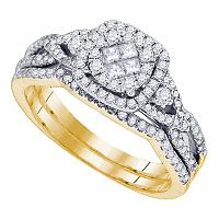14kt Yellow Gold Womens Princess Round Diamond Soleil Cluster Bridal Wedding Engagement Ring Band Set 3/4 Cttw