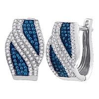 10kt White Gold Womens Round Blue Color Enhanced Diamond Bypass Hoop Earrings 1/2 Cttw