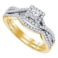 14kt Yellow Gold Womens Princess Diamond Twist Bridal Wedding Engagement Ring Band Set 5/8 Cttw