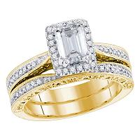14kt Yellow Gold Womens Emerald Diamond Bridal Wedding Engagement Ring Band Set 1-3/4 Cttw