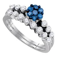 10kt White Gold Womens Round Blue Color Enhanced Diamond Bridal Wedding Engagement Ring Band Set 1.00 Cttw