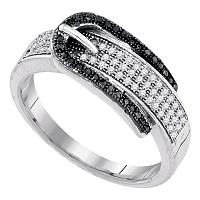 10kt White Gold Womens Round Black Color Enhanced Diamond Belt Buckle Band Ring 1/4 Cttw