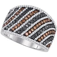 10kt White Gold Womens Round Black Cognac-brown Color Enhanced Diamond Stripe Band Ring 1-1/2 Cttw