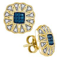 10kt Yellow Gold Womens Round Blue Color Enhanced Diamond Square Starburst Cluster Earrings 1/4 Cttw