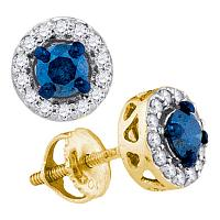 10kt Yellow Gold Womens Round Blue Color Enhanced Diamond Solitaire Stud Earrings 1/2 Cttw
