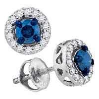 10kt White Gold Womens Round Blue Color Enhanced Diamond Solitaire Stud Earrings 1/2 Cttw