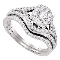 14kt White Gold Womens Diamond Cluster Bridal Wedding Engagement Ring Band Set 5/8 Cttw