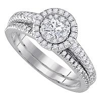 14kt White Gold Womens Princess Diamond Halo Bridal Wedding Engagement Ring Band Set 3/4 Cttw