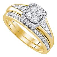 14k Yellow Gold Round Diamond Cluster Halo Womens Wedding Bridal Ring Set 5/8 Cttw