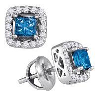 10kt White Gold Womens Princess Blue Color Enhanced Diamond Solitaire Square Stud Earrings 3/4 Cttw