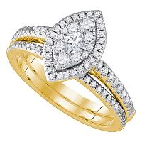 14kt Yellow Gold Womens Princess Diamond Marquise-shape Cluster Bridal Wedding Engagement Ring Band Set 3/4 Cttw