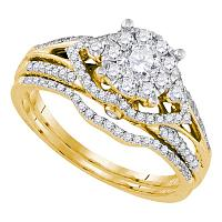 14kt Yellow Gold Womens Round Diamond Cluster Bridal Wedding Engagement Ring Band Set 3/4 Cttw