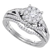 14kt White Gold Womens Round Diamond Cluster Bridal Wedding Engagement Ring Band Set 3/4 Cttw
