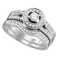 14kt White Gold Womens Diamond Round Bridal Wedding Engagement Ring Band Set 1/2 Cttw