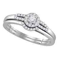 14k White Gold Round Diamond Womens Slender Small Halo Wedding Bridal Ring Set 1/5 Cttw
