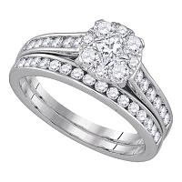 14kt White Gold Womens Princess Round Diamond Bridal Wedding Engagement Ring Band Set 1.00 Cttw