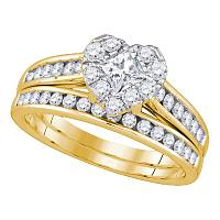 14kt Yellow Gold Princess Diamond Heart Bridal Wedding Engagement Ring Band Set 1-1/4 Cttw
