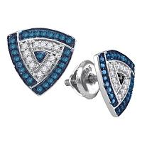 10kt White Gold Womens Round Blue Color Enhanced Diamond Triangle Frame Cluster Earrings 1/3 Cttw