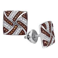 10kt White Gold Womens Round Cognac-brown Color Enhanced Diamond Square Pinwheel Earrings 1/4 Cttw