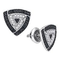 10kt White Gold Womens Round Black Color Enhanced Diamond Triangle Frame Stud Earrings 1/2 Cttw