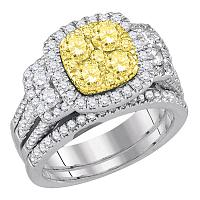 14kt White Gold Womens Round Yellow Diamond Cluster Halo Bridal Wedding Engagement Ring Band Set 2.00 Cttw
