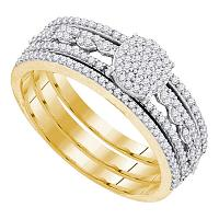 10kt Yellow Gold Womens Round Diamond Cluster Bridal Wedding Engagement Ring Band 3-Piece Set 3/8 Cttw
