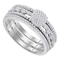 10kt White Gold Womens Round Diamond Cluster Bridal Wedding Engagement Ring Band 3-Piece Set 3/8 Cttw
