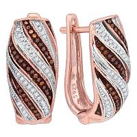 10kt Rose Gold Womens Round Red Color Enhanced Diamond Diagonal Stripe Hoop Earrings 1/3 Cttw