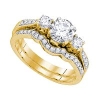 14kt Yellow Gold Womens Round Diamond 3-Stone Bridal Wedding Engagement Ring Band Set 1-1/6 Cttw
