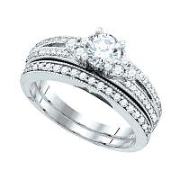 14kt White Gold Womens Round Diamond Milgrain Bridal Wedding Engagement Ring Band Set 1/2 Cttw