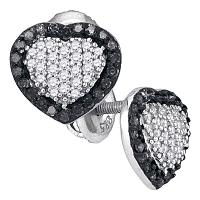 10kt White Gold Womens Round Black Color Enhanced Diamond Heart Frame Earrings 1/2 Cttw