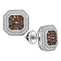 10k White Gold Cognac-brown Color Enhanced Diamond Womens Square-shape Halo Screwback Stud Earrings