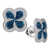10kt White Gold Womens Round Blue Color Enhanced Diamond Pinwheel Cluster Earrings 1/2 Cttw
