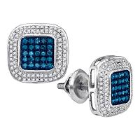 10kt White Gold Womens Round Blue Color Enhanced Diamond Square Frame Cluster Earrings 1/2 Cttw