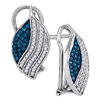 10kt White Gold Womens Round Blue Color Enhanced Diamond Stripe Oval Cluster Earrings 3/8 Cttw