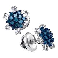 10kt White Gold Womens Round Blue Color Enhanced Diamond Cluster Screwback Earrings 1/2 Cttw