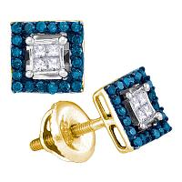 10kt Yellow Gold Womens Round Blue Color Enhanced Diamond Square Cluster Earrings 1/3 Cttw