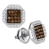 10kt White Gold Womens Round Cognac-brown Color Enhanced Diamond Octagon Cluster Earrings 3/8 Cttw