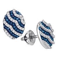 10kt White Gold Womens Round Blue Color Enhanced Diamond Oval Stripe Cluster Earrings 3/8 Cttw