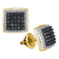 10kt Yellow Gold Womens Round Black Color Enhanced Diamond Square Cluster Earrings 1/2 Cttw