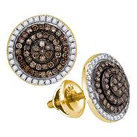 10kt Yellow Gold Womens Round Cognac-brown Color Enhanced Diamond Concentric Cluster Earrings 1/2 Cttw