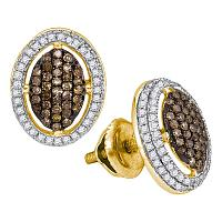 10kt Yellow Gold Womens Round Cognac-brown Color Enhanced Diamond Oval Cluster Earrings 1/2 Cttw
