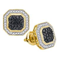 10kt Yellow Gold Womens Round Black Color Enhanced Diamond Octagon Geometric Cluster Earrings 1/2 Cttw