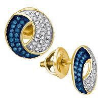 10kt Yellow Gold Womens Round Blue Color Enhanced Diamond Circle Cluster Earrings 1/5 Cttw